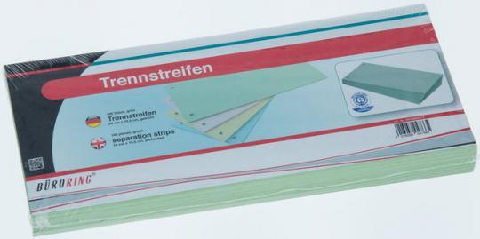Büroring Trennstreifen grün 10,5x24cm, 190g/qm Karton, gelocht